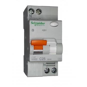 Диффавтомат AD63 2P 25А 30 мА тип АС Schneider Electric (11474)
