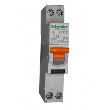 Диффавтомат 16А AD63K 1 P+N 16А 30 мА тип АС Schneider Electric (12522)