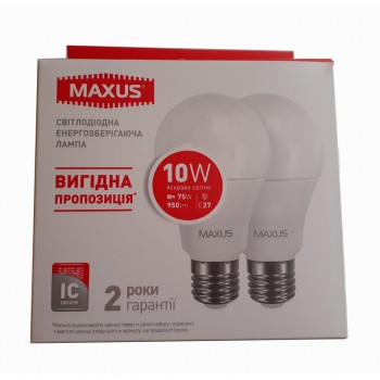 Упаковка LED ламп MAXUS A60 10W 4100К E27 2 шт (2-LED-562-01)